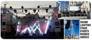Large concert P.A system with lighting rig