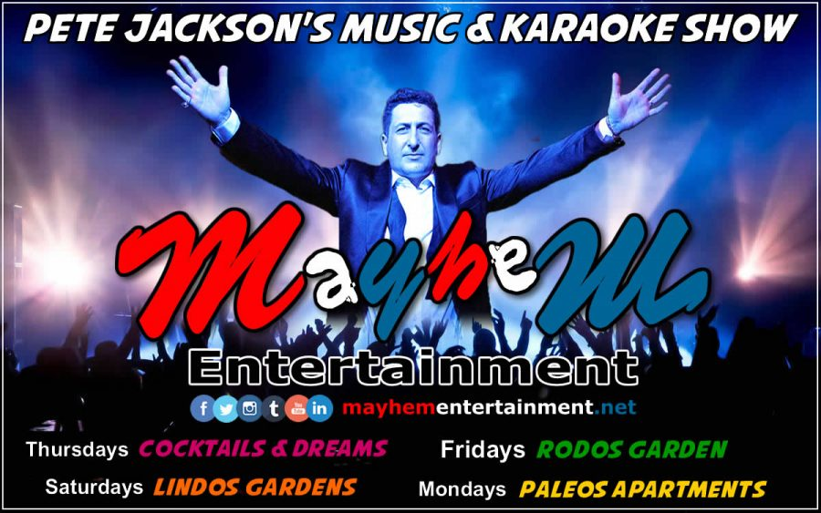 mayhem entertainment rhodes greece karaoke music shows Pete Jackson