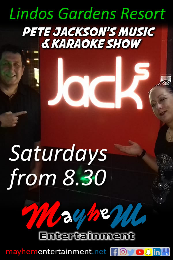 Lindos Gardens Resort Pete Jackson's Music & Karaoke Show Saturdays