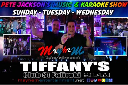 Tiffany's Bar Faliraki Pete Jackson's Music Show