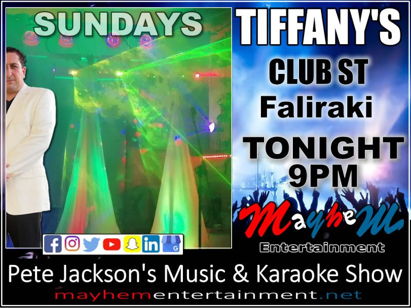 Tiffany's Pete Jackson's music & Karaoke Show Faliraki
