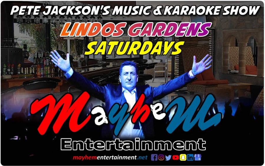 Pete Jackson's Music & Karaoke Show Lindos Gardens Jacks Saturdays
