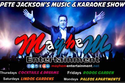 mayhem entertainment rhodes greece karaoke music shows Pete Jackson