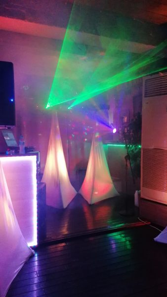 Lighting and effects with lasers from Mayhem entertainment shows