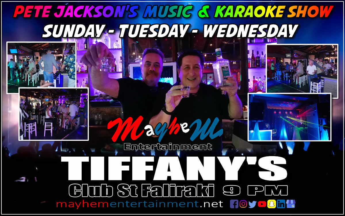 Tiffany's Bar Faliraki Pete Jackson's Music Show