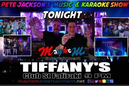 Tiffany's Faliraki Pete Jackson's Music & Karaoke Show