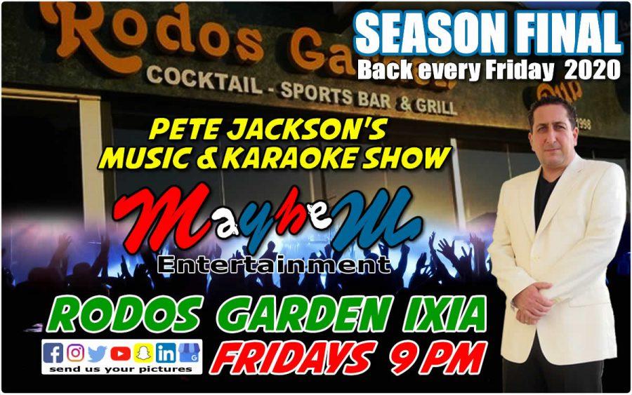 Rodos Garden Pub Ixia Rhodes Greece 2019 2020 Pete Jackson's Music Karaoke Show