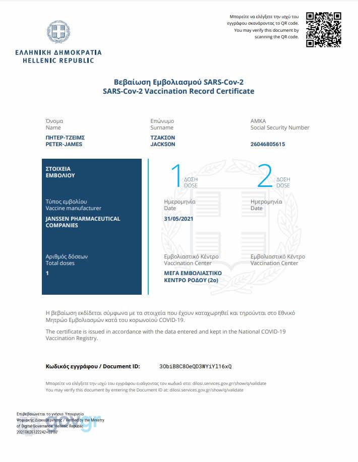 Covid-19 Vaccination Certificate Johnson & Johnson